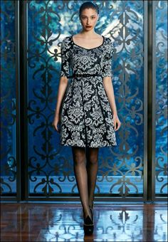 Embroidered silk jacquard | Sophisticated dress | Mother Of The Bride | Black and White | Moss & Spy