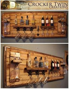 How to make a DIY Pallet Bar? - Diana Phoneix How to make a DIY Pallet Bar? - Is it your friend's birthday or some big event coming up in few days? If yes and you wanted to surprise him then making a DIY pallet bar is a great . Bar Pallet, Pallet Wine, Pallet Walls, Pallet Ideas For Walls, Amazing Pallet Ideas, Homemade Bar, Home Bar Designs, Basement Remodeling, Basement Plans