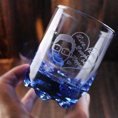(一對價)220cc【MSA 甜蜜蜜肖像情侶杯】(簡易版)心心相印 Q版娃娃 深海藍 威士忌對杯