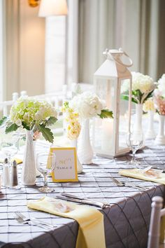 elegant yellow and grey table decor, Seaside/Mansion, Yellow and Grey wedding by 5th Avenue Weddings & Events.  Photos by Abby Caldwell Photography