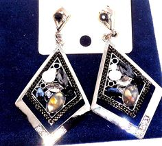 Austrian Crystal Shell and Glass Dangle Earrings   USA SELLER #Unbranded…