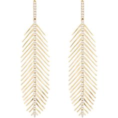 Sidney Garber Women's Flexible Feather Earrings ($8,900) ❤ liked on Polyvore featuring jewelry, earrings, no color, 18 karat gold jewelry, 18k jewelry, sparkle jewelry, drop hoop earrings and earring jewelry