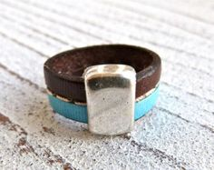 Leather ring with pearl 5 Ladies RingRing Gray by Charmecharmant