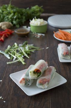 Food For Thought | Vegetable Spring Rolls with Sesame Ginger Sauce – An easy to make and a delicious finger food perfect for summertime entertaining.
