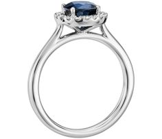 Floating Sapphire and Diamond Round Halo Ring in 14k White Gold (6mm)