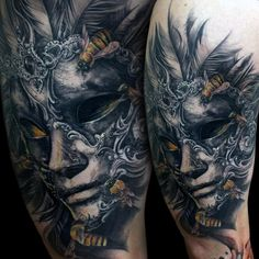 Venetian Mask tattoo done by Tony Mancia