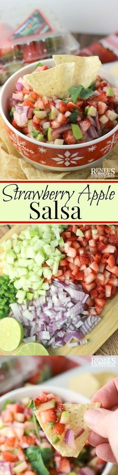 Strawberry Apple Salsa Renees Kitchen Adventures easy recipe for strawberry apple salsa appetizer Spicy jalapeno strawberry apple Flastrawberries Healthy Snacks, Healthy Eating, Healthy Recipes, Apple Recipes, Dishes Recipes, Salsa Guacamole, Salsa Salsa, Apple Salsa, Fresh Salsa