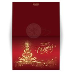 ​Best red and gold season's greetings christmas card with tree of lights, stars and ribbons.