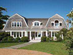 Martha's Vineyard Shingle Cottage with Coastal Interiors. Beach cottage. Cedar shake. Coastal cottage. Colonial. Cottage. Dutch colonial style. Exterior. Marthas vineyard home. Marthas vineyard. Nantucket. Shaker style. Shingle. Waterfront