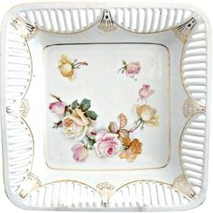 Antique German porcelain bowl square design reticulated rim from victoriascurio on Ruby Lane
