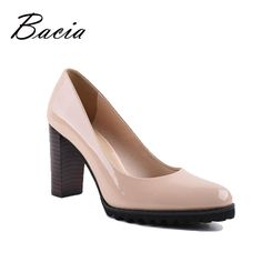 0702a553bea1e US $105.92 |Aliexpress.com : Buy Bacia Square Heel pumps Genuine Leather  Shoes For Women Luxury Quality Heels Round Toe Slip On Bridal Shoes Russian  Size ...