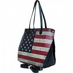 USA Vintage American Flag Purse (Leatherette- Black) #RubyCollection #Vintage