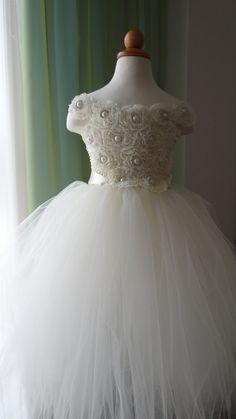 Ivory Flower Girl Dress Tulle Dress Girls Dresses by LureCouture