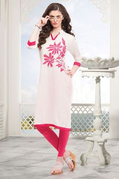 White & Pink Applique worked cotton Straight Cut Kurti-WKR232 - Tunics & Kurtis