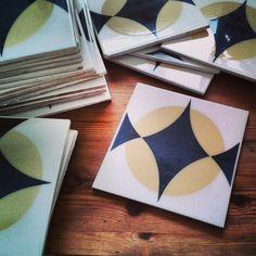 Vintage Italian Ceramic Tile Black White And Yellow Retro Architectural Salvage Mid Century Modern