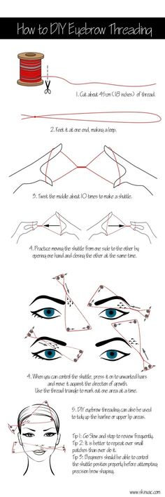 You can try DIY threading. | Everything You Ever Needed To Know About Doing Your Eyebrows