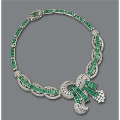 Emerald And Diamond Necklace/Brooch Combination, Mounted In White Gold    c.1940  -  Sotheby's  (The Brooch-Pendant Is Detachable)