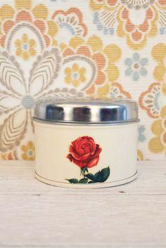 vintage brabantia blik met afbeelding van een roos. www.sugarsugar.nl