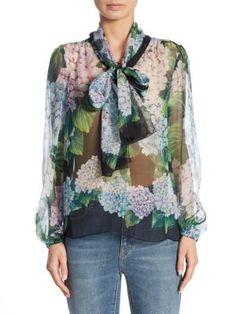 86d9be38f2d54 DOLCE   GABBANA Silk Chiffon Tie-Neck Blouse.  dolcegabbana  cloth  blouse
