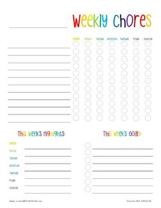 Free Printable: Weekly Chore and Goal Chart by mollie MY DESIGN {personal use only}