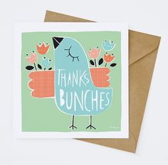 Thanks Bunches  Greeting Card 157C by FreyaArt on Etsy, $4.00