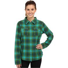 Prana Bridget Lined Shirt (Deep Jade) Women's Long Sleeve Button Up ($43) ❤ liked on Polyvore featuring tops, navy, long sleeve shirts, long sleeve tops, green collared shirt, green top and long sleeve sports shirts
