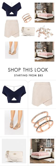 """""""Baby pink"""" by dianthesiva ❤ liked on Polyvore featuring Roland Mouret, BCBGMAXAZRIA, Kendall + Kylie, EF Collection, Coach, Furniture of America and Canopy Designs"""