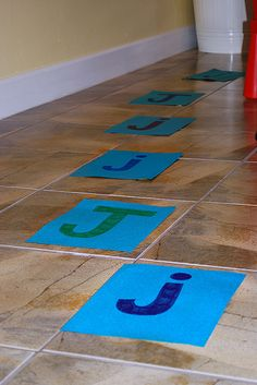 "Preschool gross motor game.  This version is ""Jumping J's""  but the same idea can be used for recognition with shapes, colors, letters, site words..."