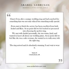 Katie ordered our Diamond Flower Ethical Gold Wedding Ring, we are so happy she loves it! #happycustomers #review #testimonial #ethicalweddingrings