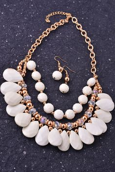 Winter White Beaded Statement Necklace & Earrings Set #fashionjewelry #necklace #ubeufashion #boutique #oldsac
