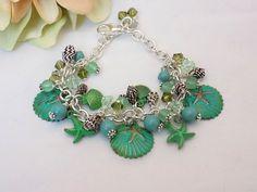Beach Charm Bracelet Swarovski Pearl Bracelet by TreasuresofJewels