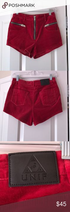 UNIF Axl shorts UNIF high waisted red shorts. Size 27. The exterior is in great condition 9/10. Just has two marks from where my hanger clipped onto it. The interior has loose lining and stitches falling out from washing in a washer (pls dry clean!!) Please see all pictures. I've worn these without any problem though. Looks amazing on! UNIF Shorts