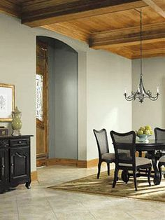 Green Grays- Best Wall Color for homes with wood finishes from the 70's, 80's and 90's