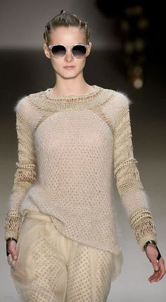 Interesting use of texture in a monochromatic sweater. David Tomaszewski