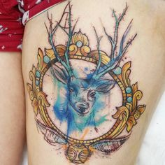 Gorgeous Watercolor Harry Potter Stag Tattoo by @josiesexton