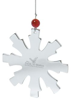 Holiday Cheer - Snowflake Shaped Ornament Stainless steel snowflake shaped ornament with bead accent. Includes laser engraving in 1 location. Snowflake Shape, Snowflake Ornaments, Holiday Ornaments, Holiday Gifts, Snowflakes, Christmas Tree, Holiday Decor, Personalized Christmas Ornaments, Corporate Gifts