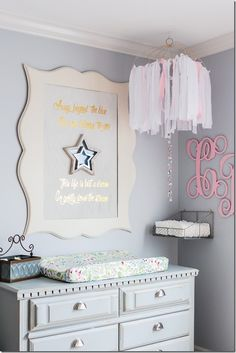 This DIY nursery makeover from Beth, of Unskinny Boppy, is nothing but sweet dre. This DIY nursery Blogger Home, Interior Design Process, Purple Walls, Nursery Signs, Diy Interior, Creative Home, Christmas Home, Diy Home Decor, Wall Decor