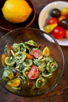 Spicy Kale & Lemon Pesto Orecchiette with Baby Heirloom Tomatoes