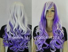 Free Shipping>>>Beautiful WHITE & PURPLE LONG CURLY COSPLAY WIG $19.60