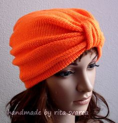 Hand Made Knit Turban Hat Knit Beanie Knit by accessoriesbyrita, $25.00