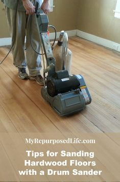 Tips for Sanding Vintage Hardwood Floors Tips for Sanding Vintage Hardwood Floors - My Repurposed Life®<br> Tips for using a drum sander to sand hardwood floors. Although it's a lot of work, if you take your time and do it right it it's very rewarding. Sanding Wood Floors, Diy Wood Floors, Oak Laminate Flooring, Refinishing Hardwood Floors, Diy Flooring, Wooden Flooring, Flooring Ideas, Hardwood Floor Colors, Light Hardwood Floors