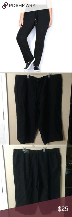 "AVENUE Fly Front Classic Fit Capris NWT! Designed to fit at your natural waist. Elastic waistband, side  pockets, and vents at the cuffs.  Laid flat waist measures 23.5"", inseam is 23"". First image is similar style at waist,  length is different. (Image from Avenue's website) Avenue Pants Capris"