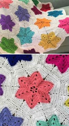 Crochet Hexagon Blanket, Crochet Quilt, Granny Square Crochet Pattern, Afghan Crochet Patterns, Crochet Motif, Diy Crochet, Crochet Crafts, Crochet Stitches, Crochet Projects