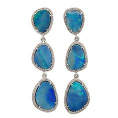 Opal and Diamond Earrings | From a unique collection of vintage drop earrings at https://www.1stdibs.com/jewelry/earrings/drop-earrings/