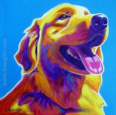 Colorful Pet Portrait Golden Retriever Dog Art por dawgpainter, $14.00