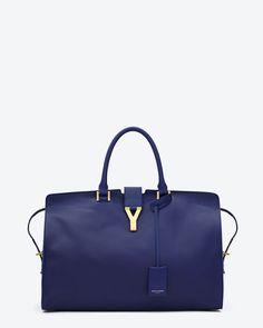 Cabas Classique Y Bag in Blue Leather