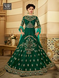 Buy Bright Dark Green Embroidered Work Anarkali Suit Indian wedding salwar suits online in USA, UK, Canada, and Australia from VJV Fashions by designer Wedding Salwar Suits, Silk Anarkali Suits, Anarkali Lehenga, Long Anarkali, Floor Length Anarkali, Choli Dress, Designer Gowns, Designer Anarkali, Indian Gowns