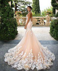 wedding gown in shades of rose #weddingdress #bridaldress #weddingdresses #weddinggown #weddinggowns #bride #weddinginspiration