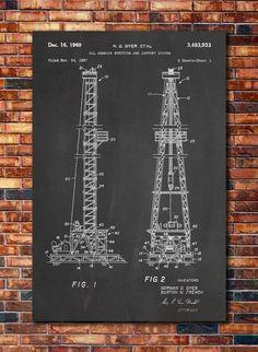 Oil Derrick Patent by CatkumaPatentPress on Etsy