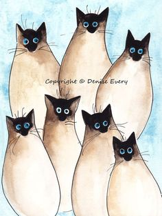 Seven Silly Sealpoint Siamese Kitties Abstract Cat Art 5x7 Print. $7.99, via Etsy.